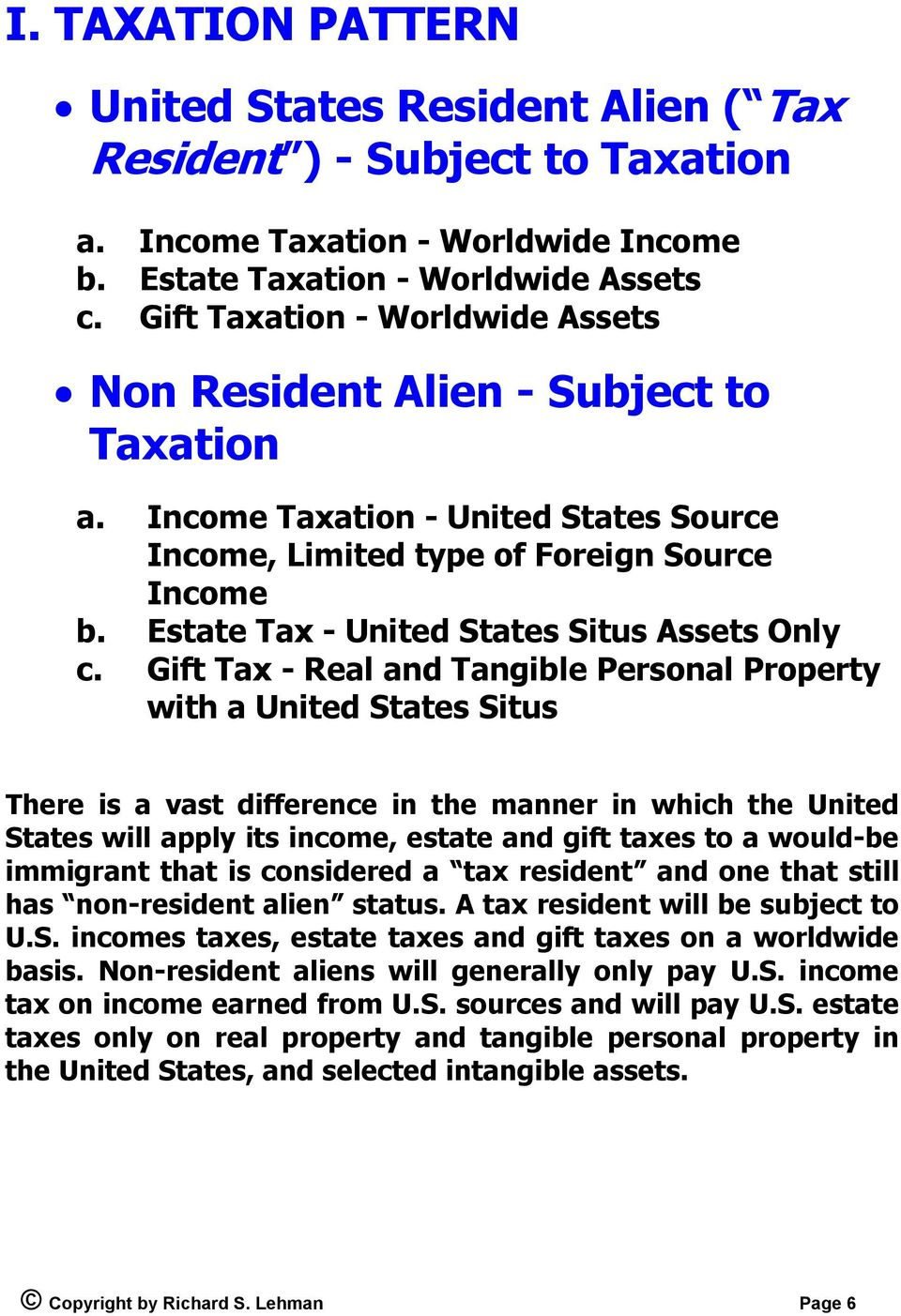 Estate Tax - United States Situs Assets Only c.