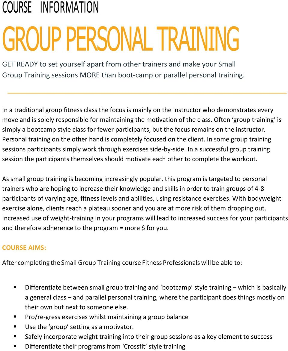 Group Personal Training Pdf