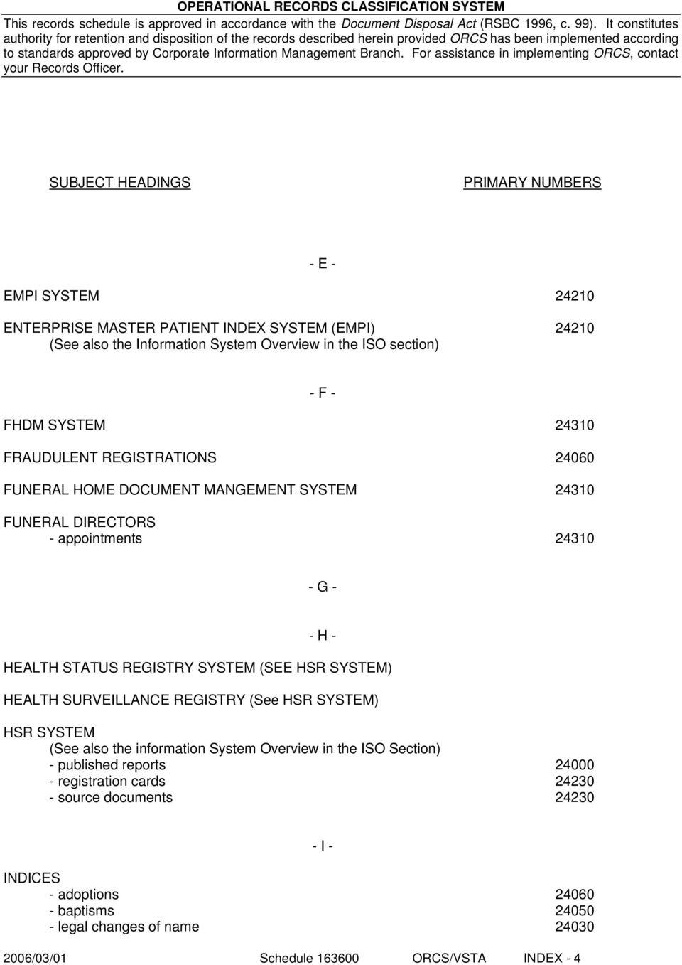 REGISTRY (See HSR SYSTEM) HSR SYSTEM (See also the information System Overview in the ISO Section) - published reports 24000 - registration cards