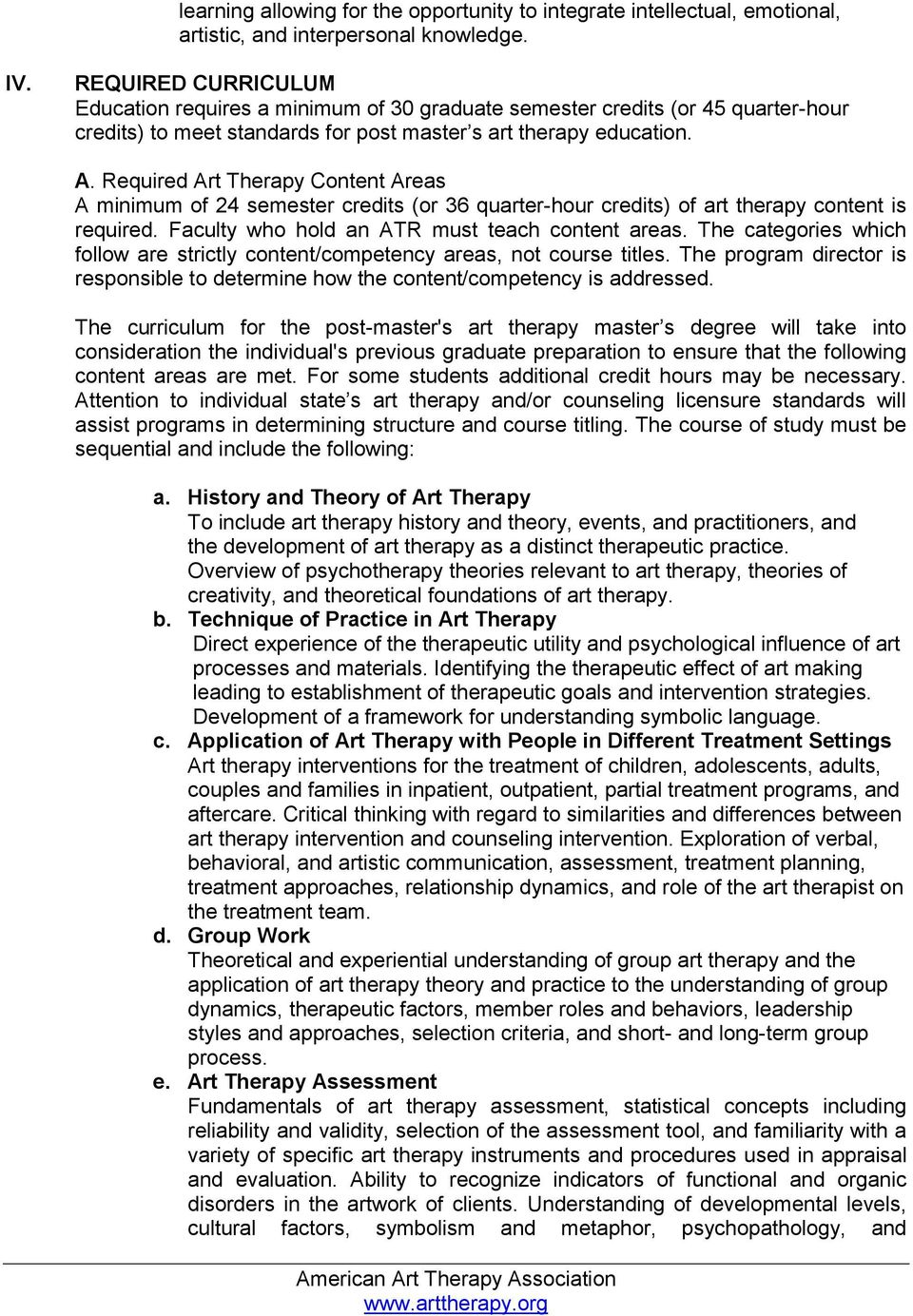 Required Art Therapy Content Areas A minimum of 24 semester credits (or 36 quarter-hour credits) of art therapy content is required. Faculty who hold an ATR must teach content areas.