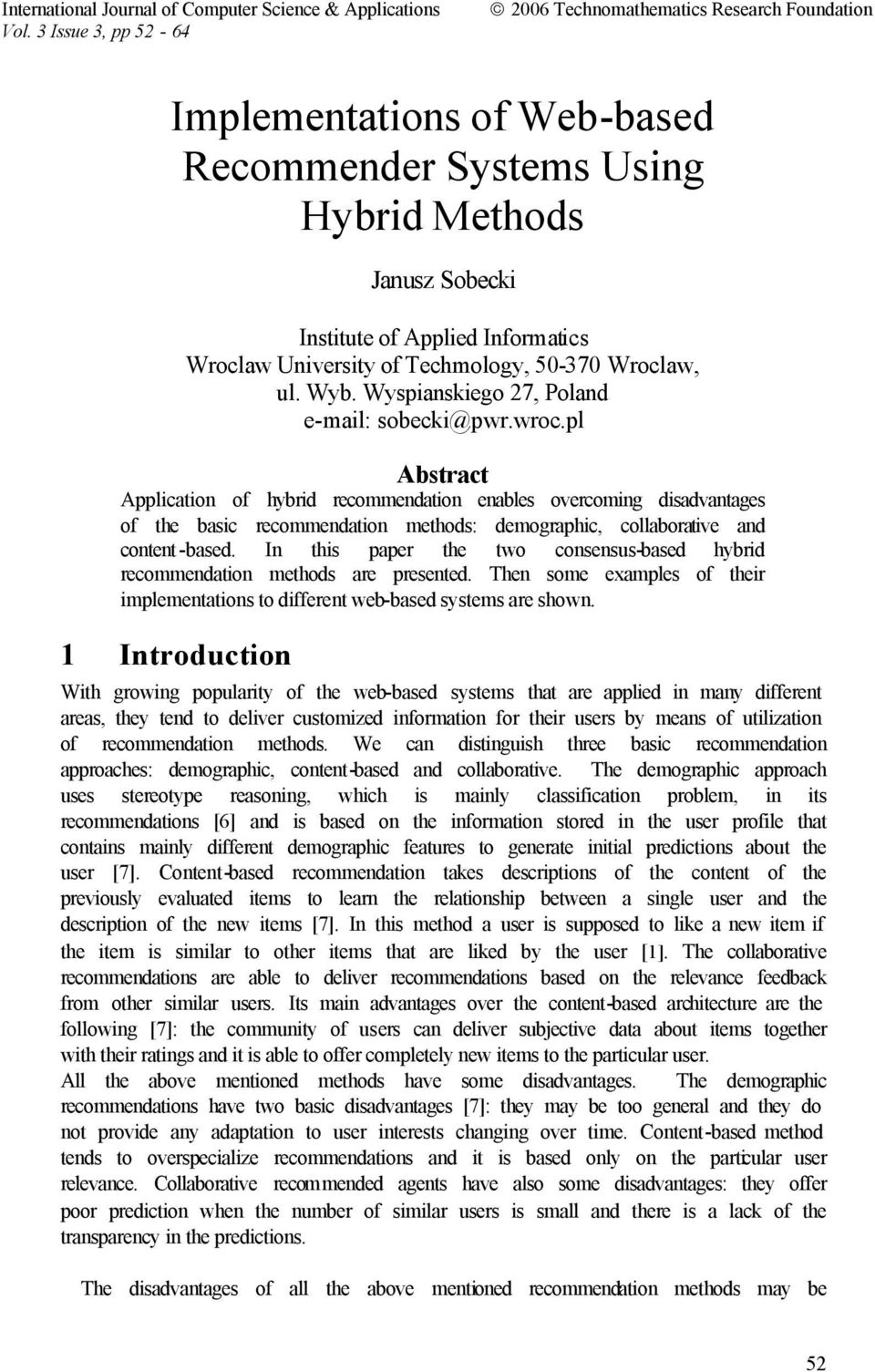 Implementations of Web-based Recommender Systems Using
