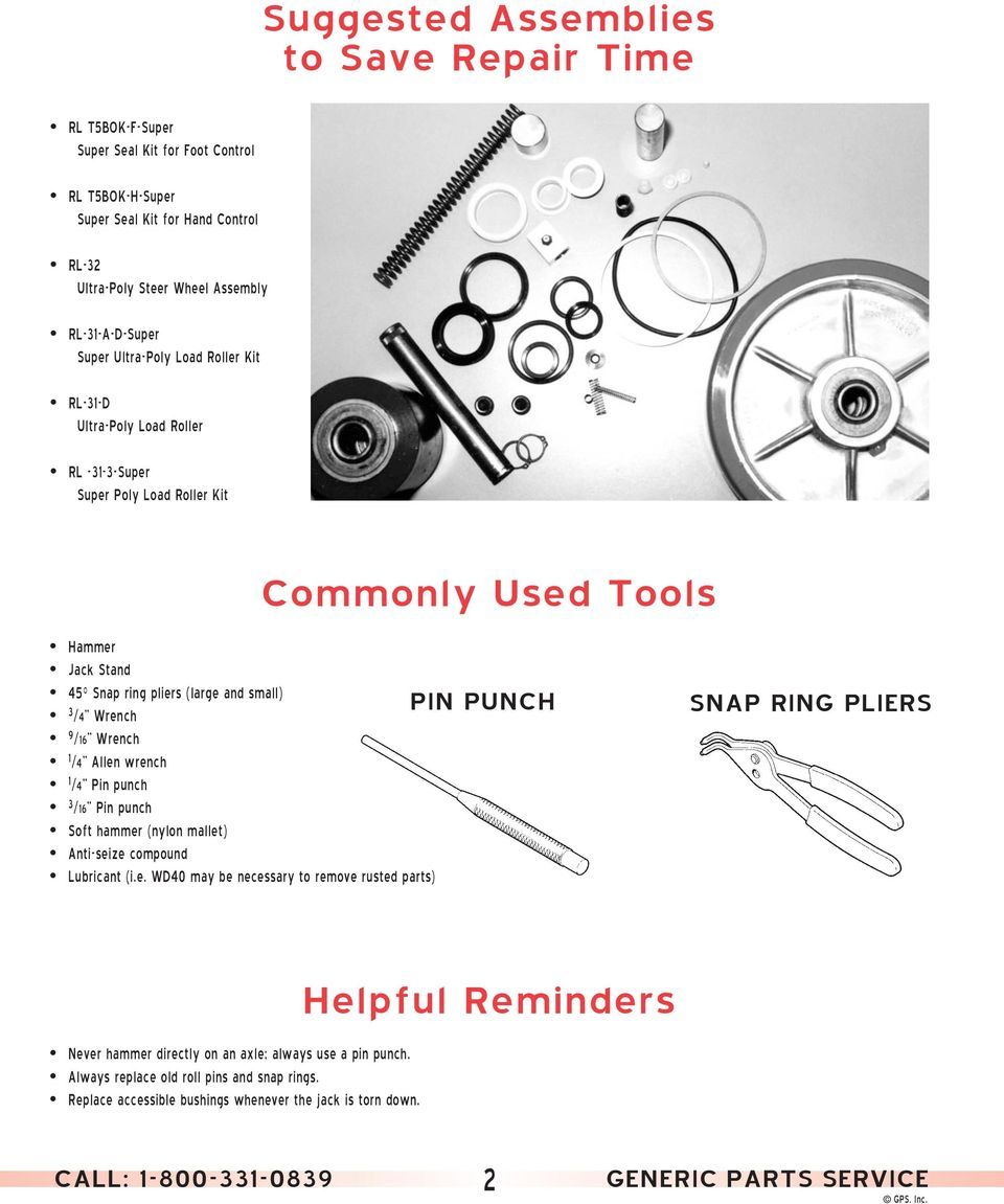 Wrench 1 /4 Allen wrench 1 /4 Pin punch 3 /16 Pin punch Soft hammer (nylon mallet) Anti-seize compound Lubricant (i.e. WD40 may be necessary to remove rusted parts) PIN PUNCH SNAP RING PLIERS Never hammer directly on an axle; always use a pin punch.