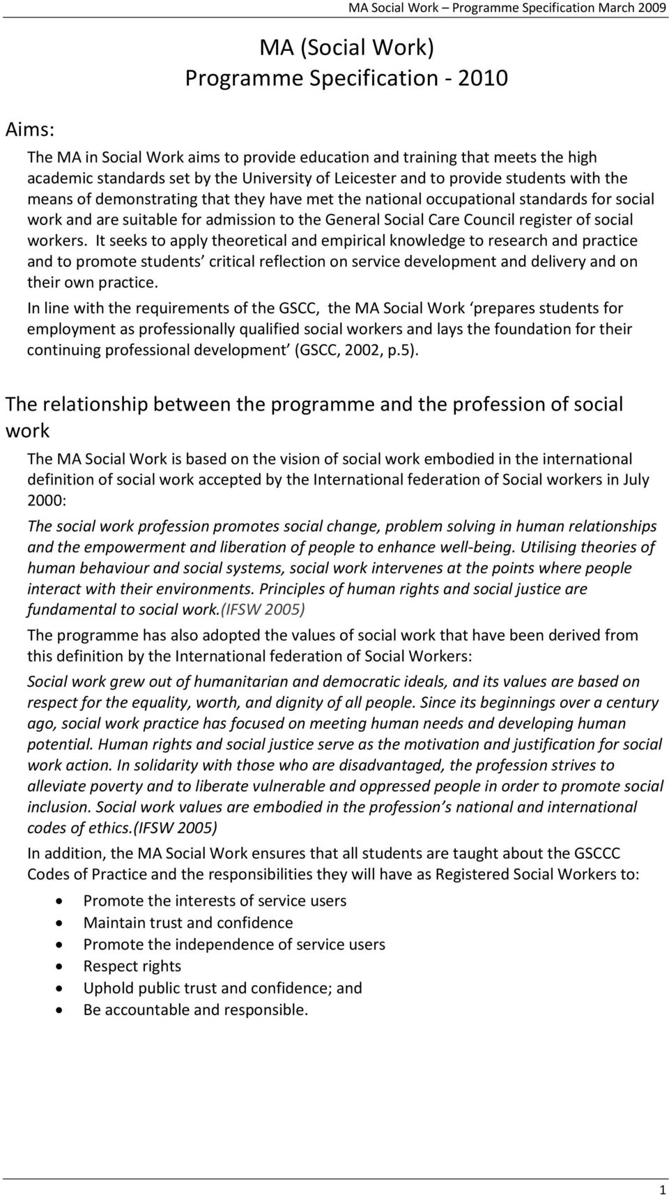 admission to the General Social Care Council register of social workers.