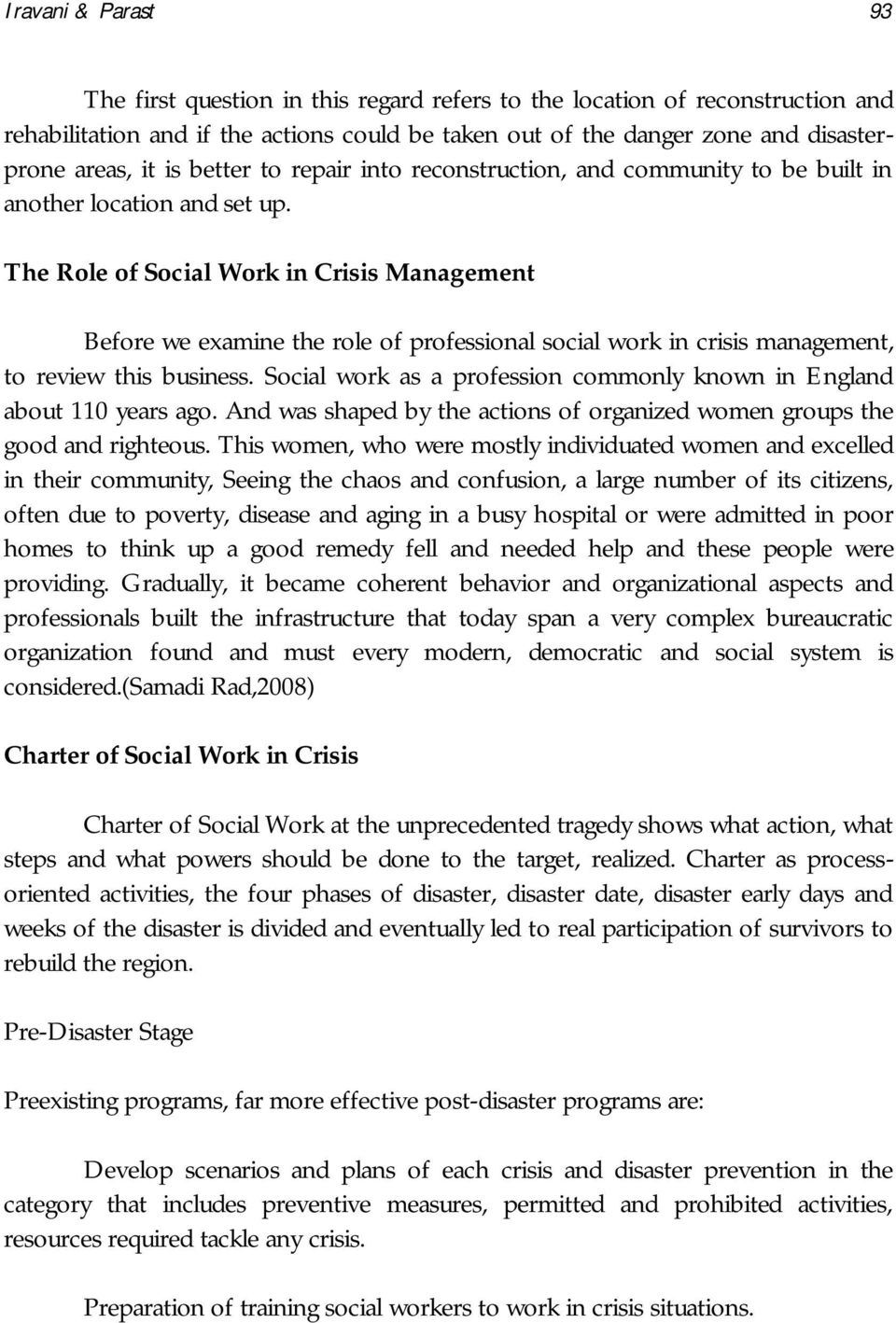 Examine the Role of Social Workers in Crisis Management - PDF
