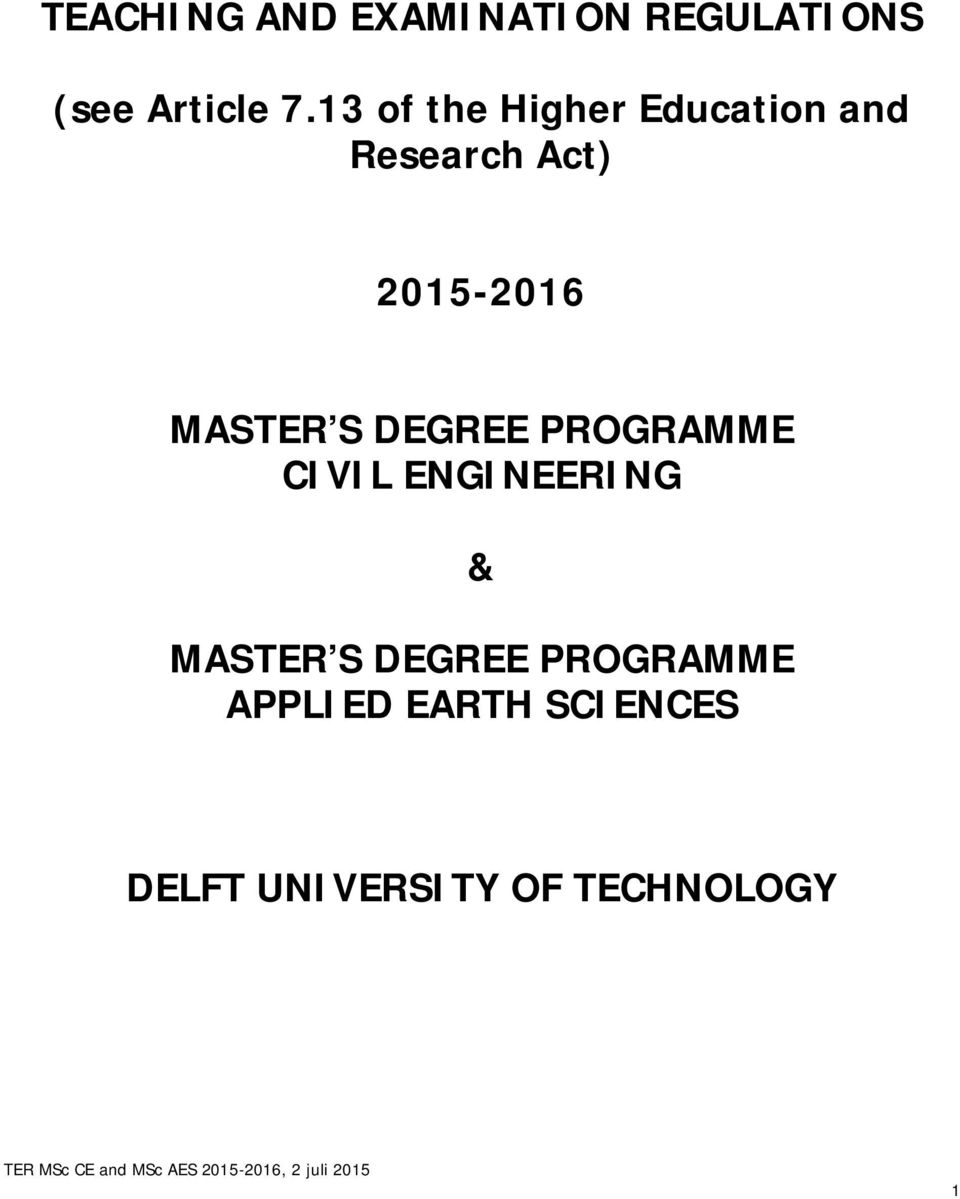 MASTER S DEGREE PROGRAMME CIVIL ENGINEERING & MASTER S