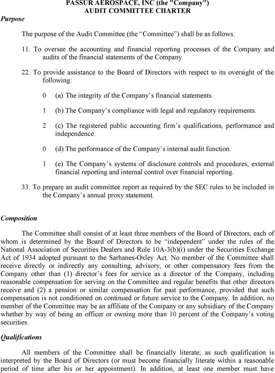 To provide assistance to the Board of Directors with respect to its oversight of the following: 0 (a) The integrity of the Company s financial statements.