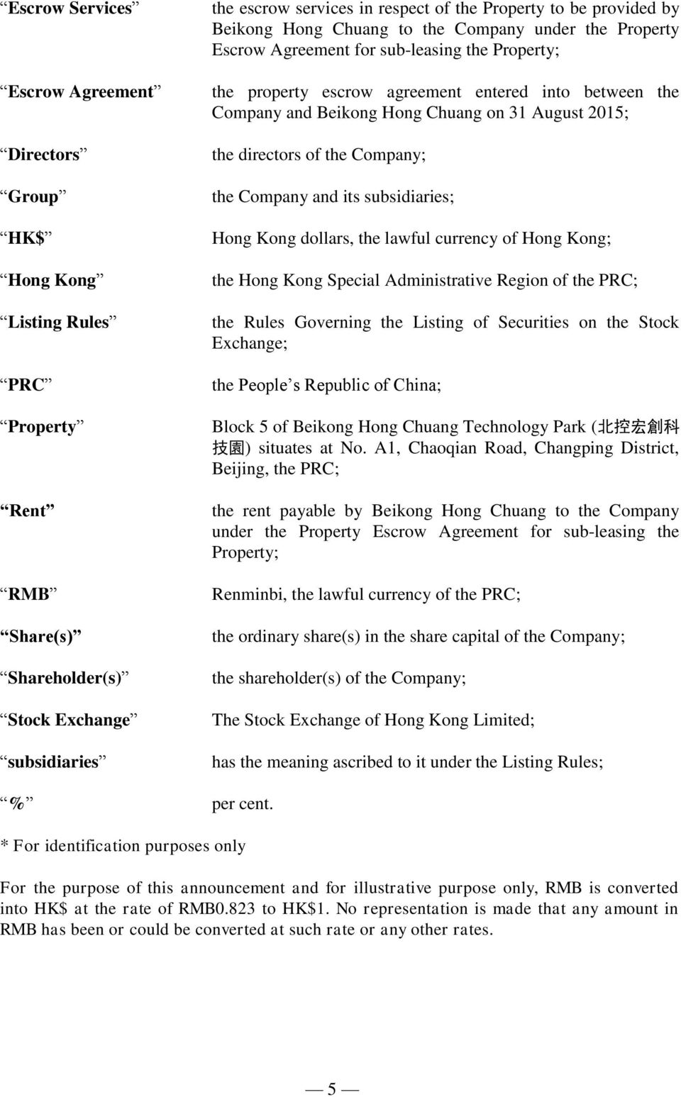Chuang on 31 August 2015; the directors of the Company; the Company and its subsidiaries; Hong Kong dollars, the lawful currency of Hong Kong; the Hong Kong Special Administrative Region of the PRC;