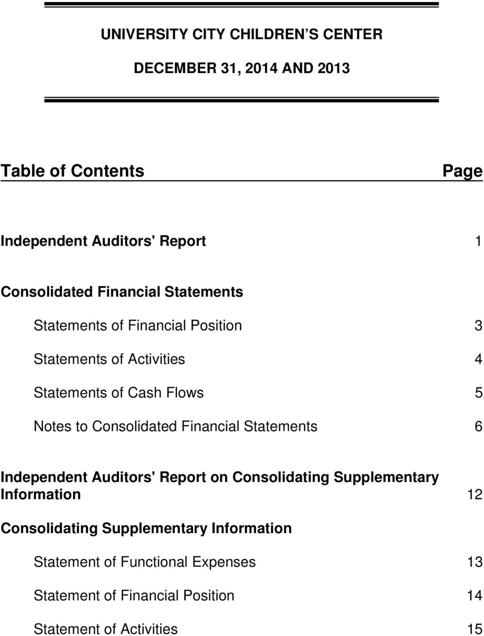 Financial Statements 6 Independent Auditors' Report on Consolidating Supplementary Information 12 Consolidating