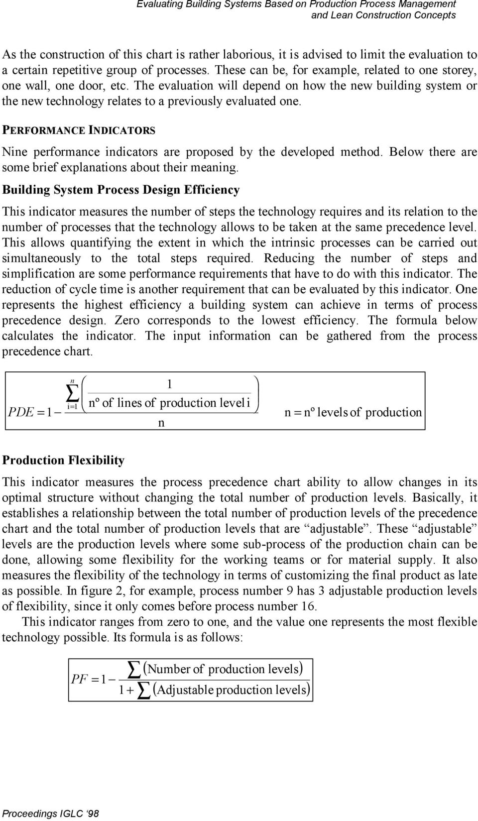 EVALUATING BUILDING SYSTEMS BASED ON PRODUCTION PROCESS