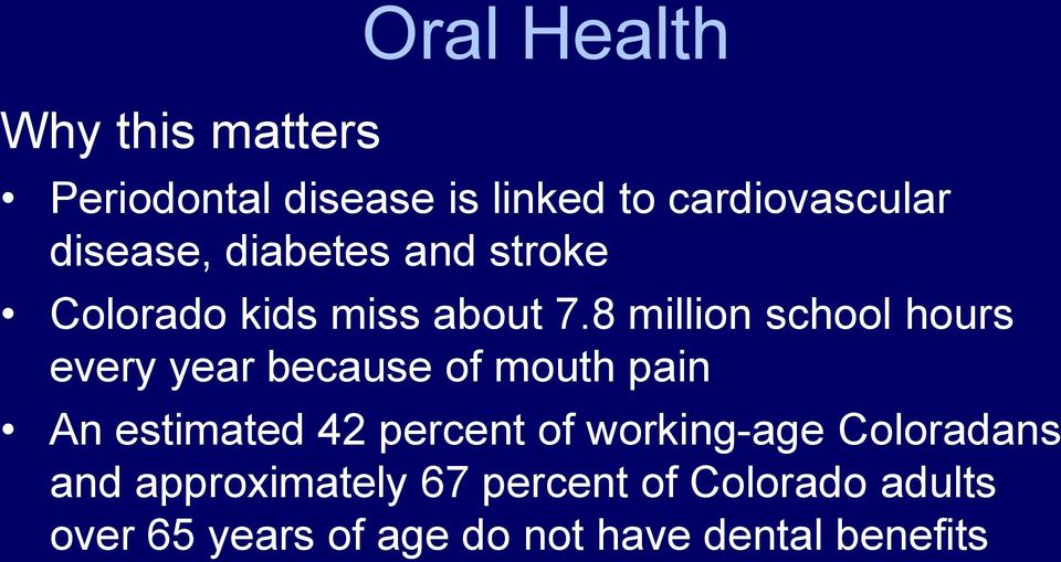8 million school hours every year because of mouth pain An estimated 42 percent of