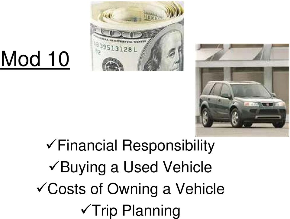 Used Vehicle Costs of