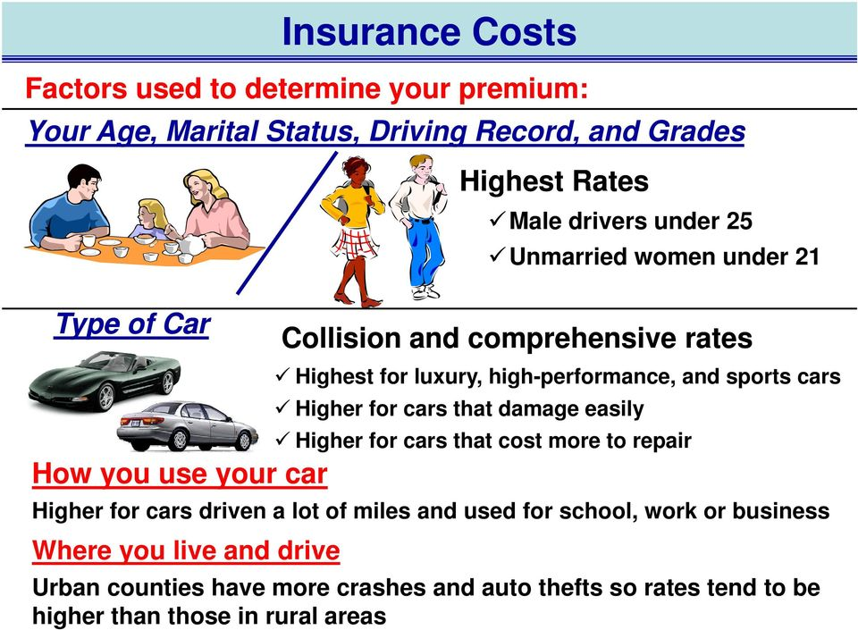 cars that damage easily Higher for cars that cost more to repair How you use your car Higher for cars driven a lot of miles and used for