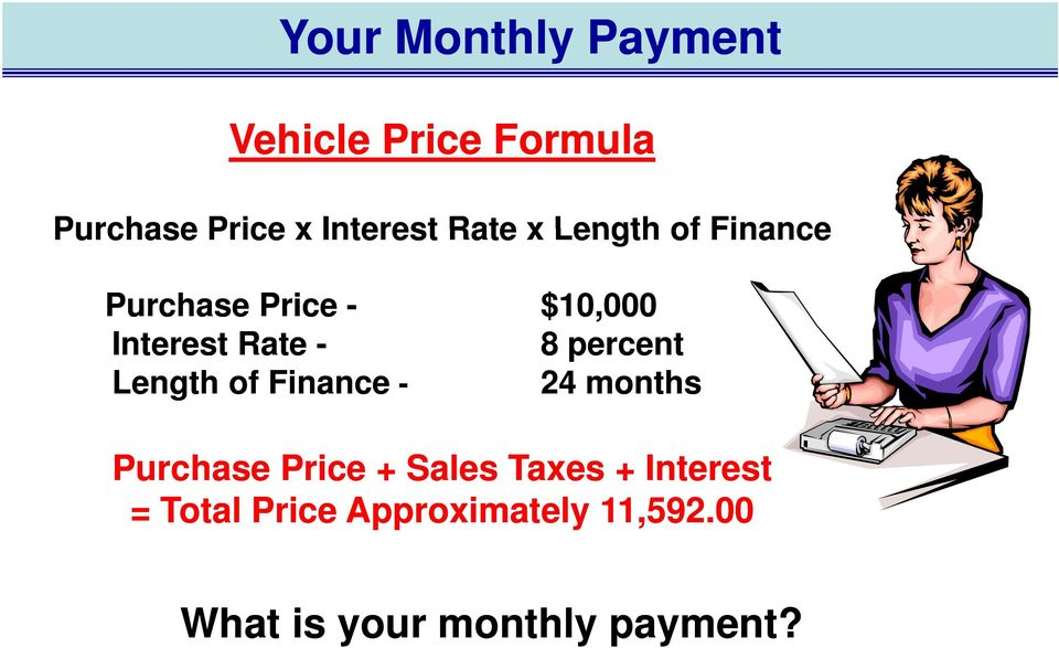 percent Length of Finance - 24 months Purchase Price + Sales Taxes +