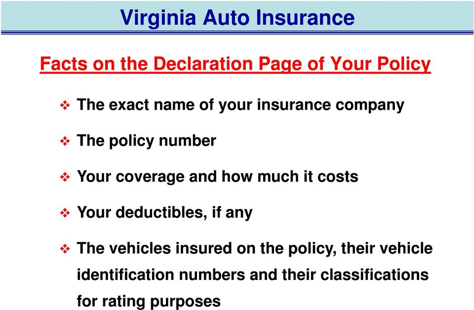much it costs Your deductibles, if any The vehicles insured on the policy,