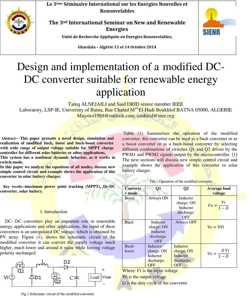 Design And Implementation Of A Modified Dc Converter Suitable To Circuit Also Buck Boost The Org Abstract This Paper Presents Novel Simulation Realization