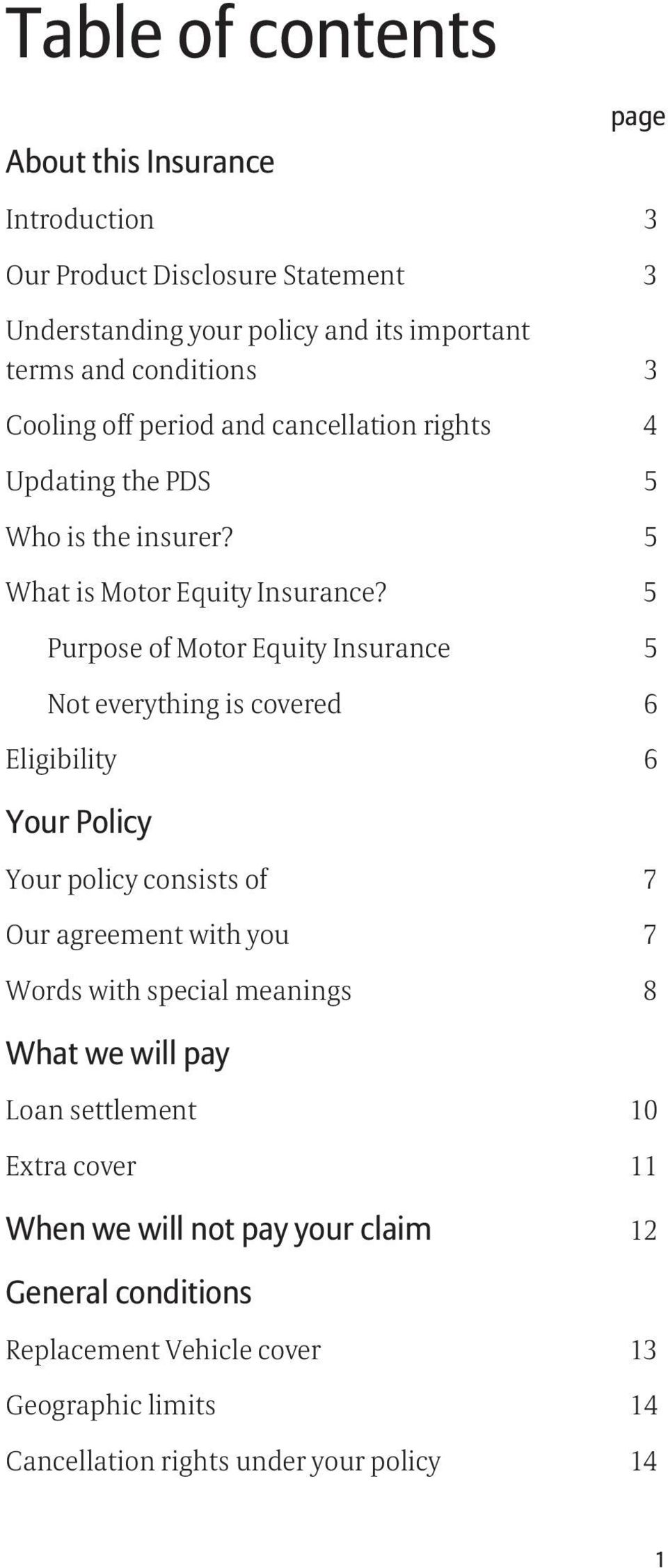 5 Purpose of Motor Equity Insurance 5 Not everything is covered 6 Eligibility 6 Your Policy Your policy consists of 7 Our agreement with you 7 Words with special meanings 8
