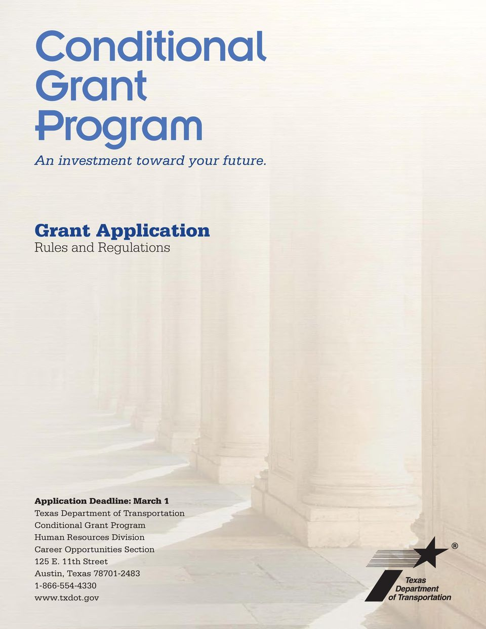 Department of Transportation Conditional Grant Program Human Resources Division