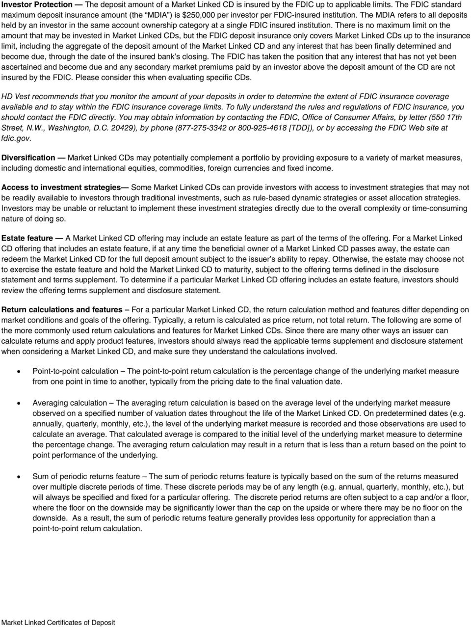 Guide To Investing In Market Linked Certificates Of Deposit Pdf