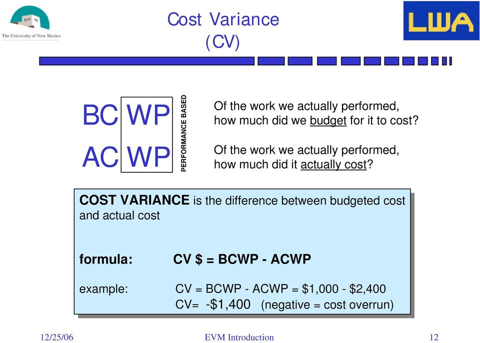 COST VARIANCE is is the the difference between budgeted cost cost and and actual actual cost cost formula: CV CV $ = BCWP