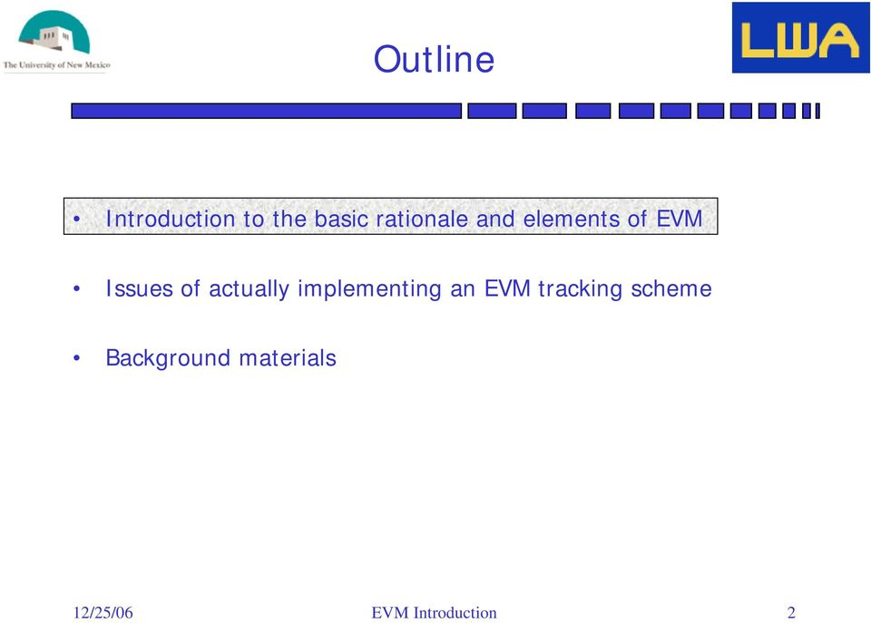an EVM tracking scheme Background materials