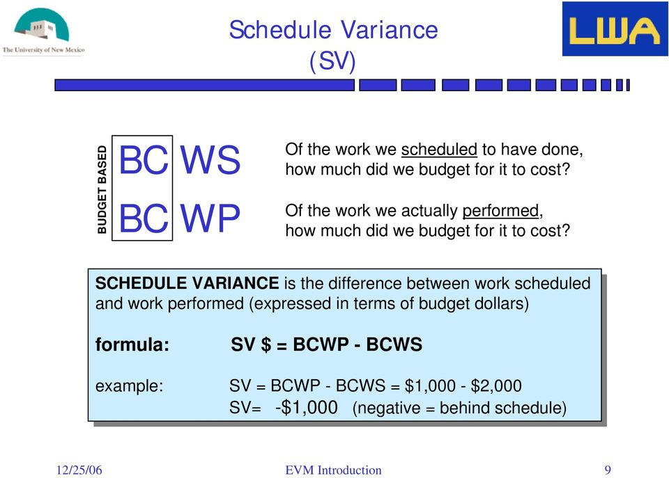 SCHEDULE VARIANCE is is the the difference between work work scheduled and and work work performed (expressed in in terms terms of of budget