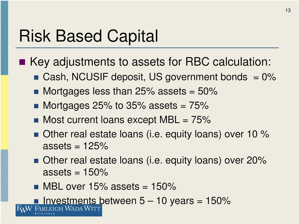 except MBL = 75% Other real estate loans (i.e. equity loans) over 10 % assets = 125% Other real estate loans (i.