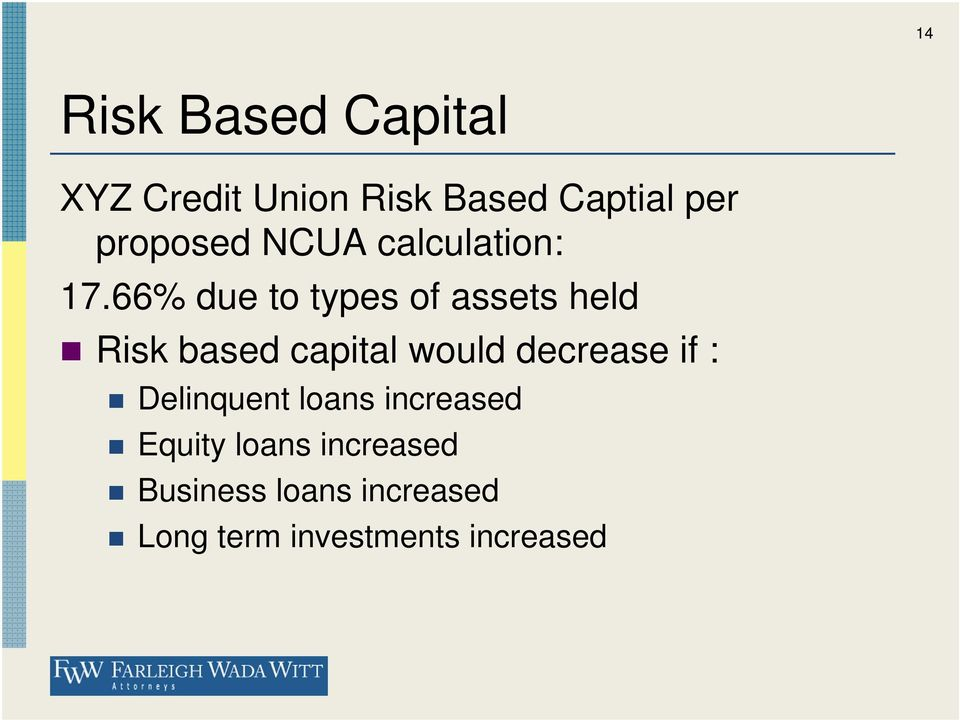 66% due to types of assets held Risk based capital would decrease