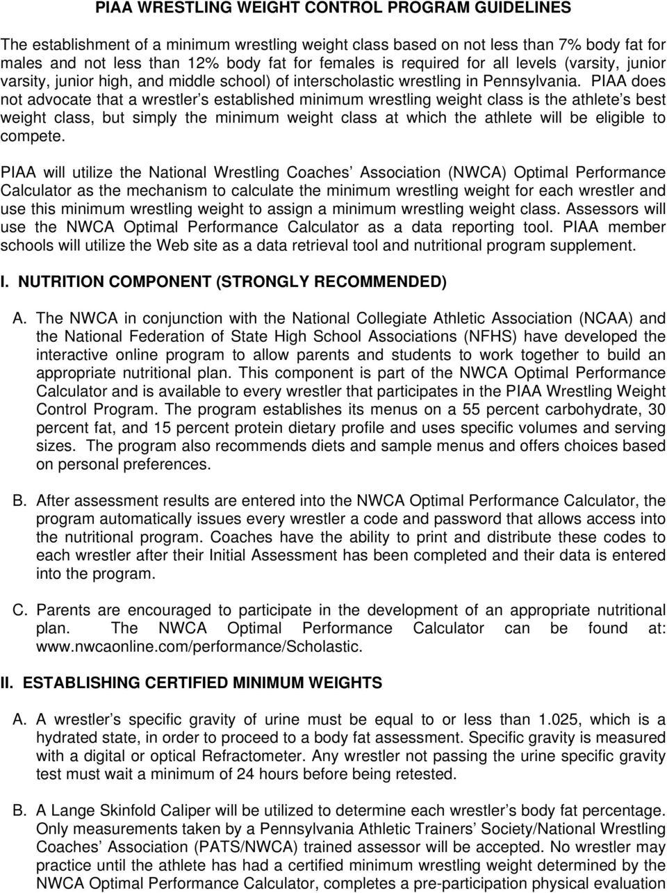 PIAA WRESTLING WEIGHT CONTROL PROGRAM GUIDELINES - PDF