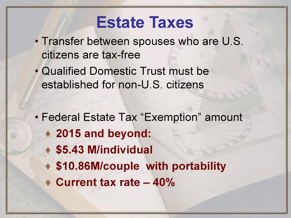 established for non-u.s. citizens Federal Estate Tax Exemption