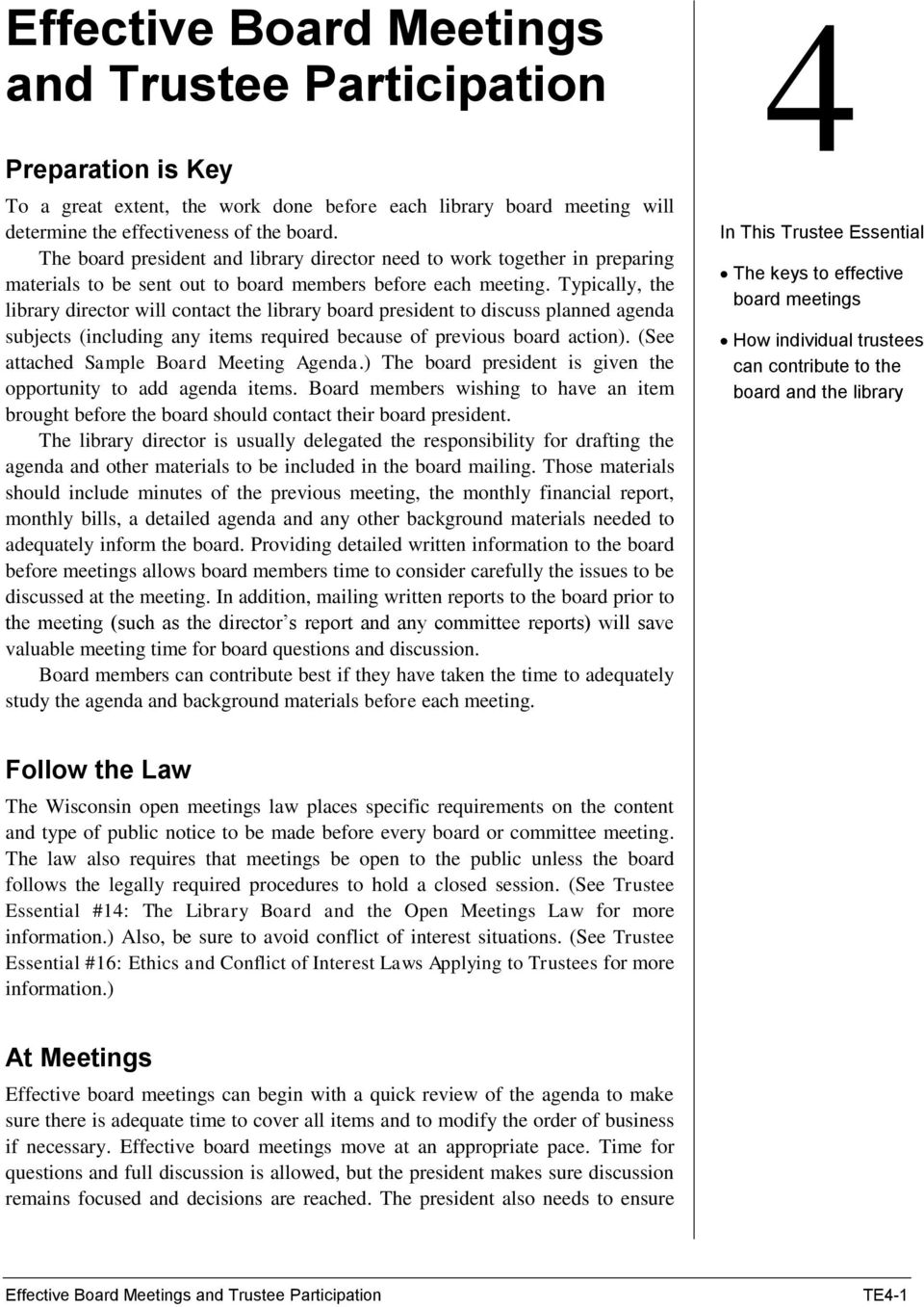 Effective Board Meetings and Trustee Participation - PDF
