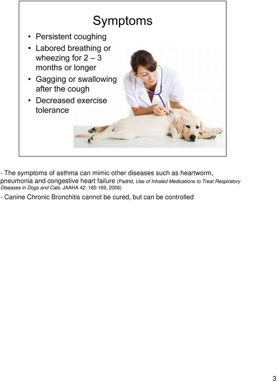 Canine Chronic Bronchitis cannot be cured, but can be