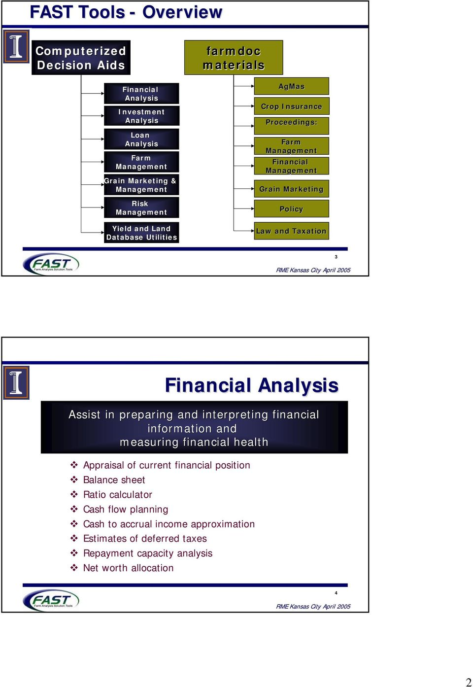 and Taxation 3 Financial Analysis Assist in preparing and interpreting financial information and measuring financial health Appraisal of current financial