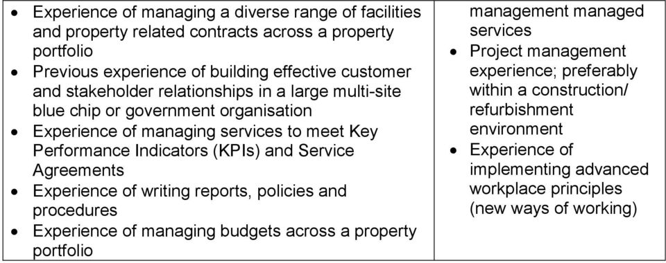 and Service Agreements Experience of writing reports, policies and procedures Experience of managing budgets across a property portfolio management managed services