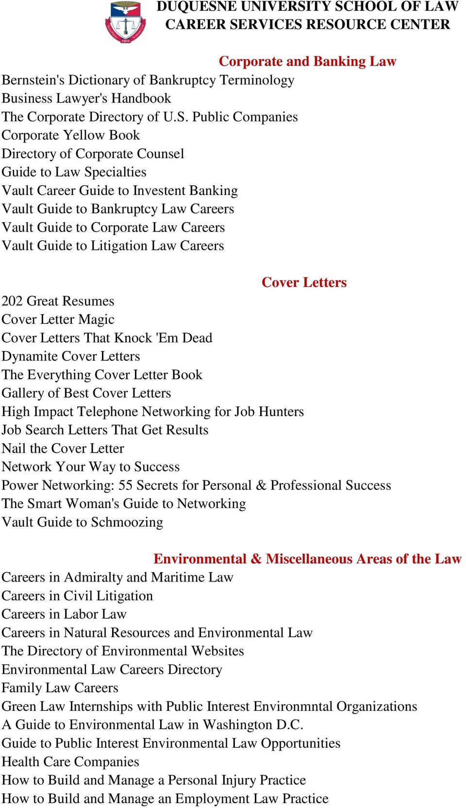 DUQUESNE UNIVERSITY SCHOOL OF LAW CAREER SERVICES RESOURCE CENTER - PDF