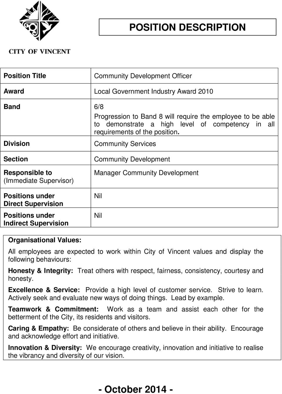 Division Community Services Section Responsible to (Immediate Supervisor) Positions under Direct Supervision Positions under Indirect Supervision Community Development Manager Community Development