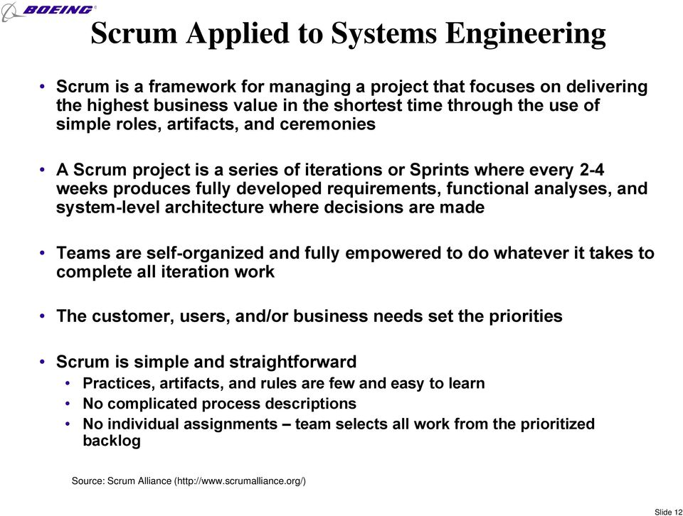 made Teams are self-organized and fully empowered to do whatever it takes to complete all iteration work The customer, users, and/or business needs set the priorities Scrum is simple and