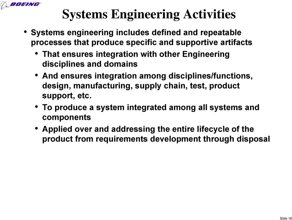 disciplines/functions, design, manufacturing, supply chain, test, product support, etc.