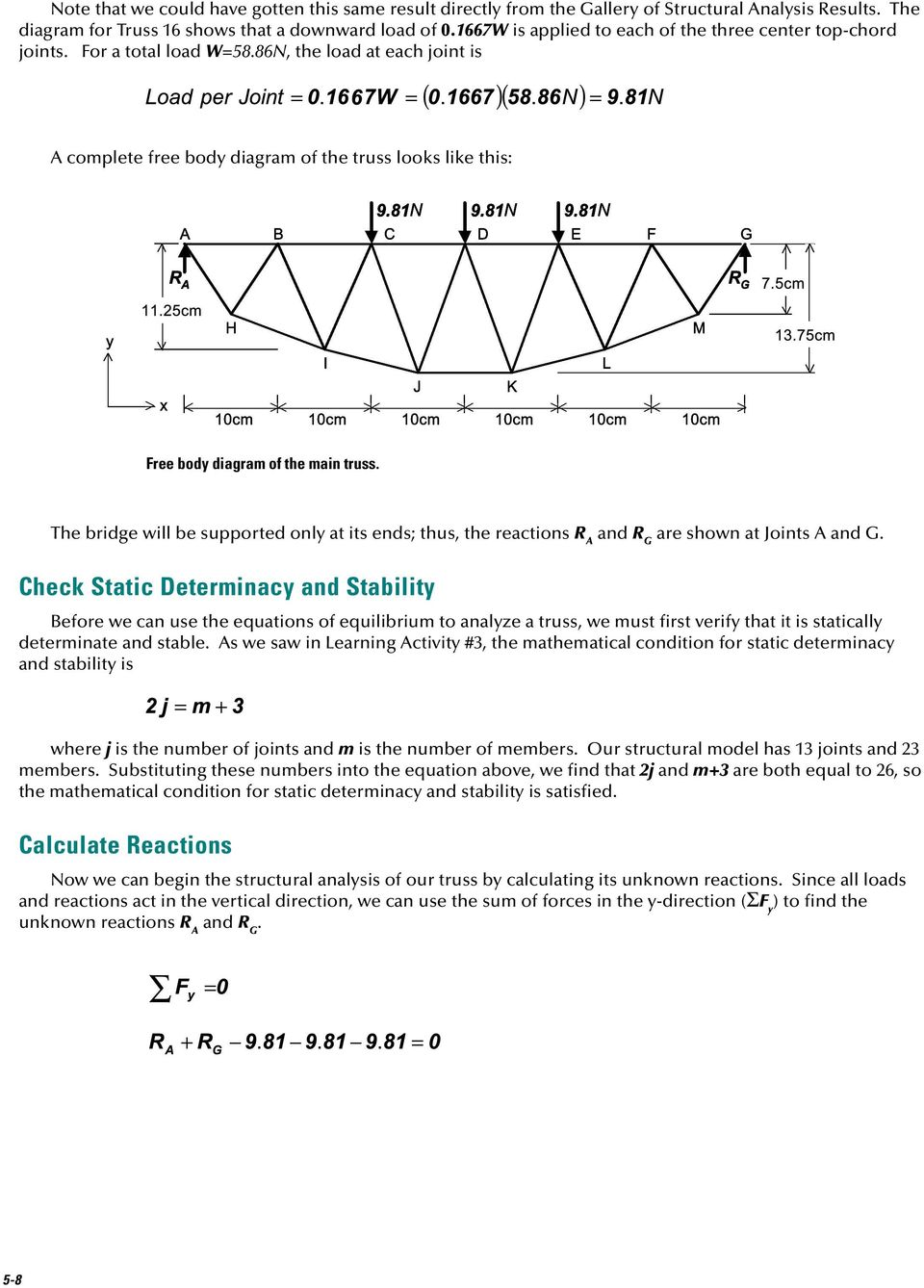 reactions the free body diagram of the truss as a unified structuredesign and build a model truss bridge pdf rh docplayer net