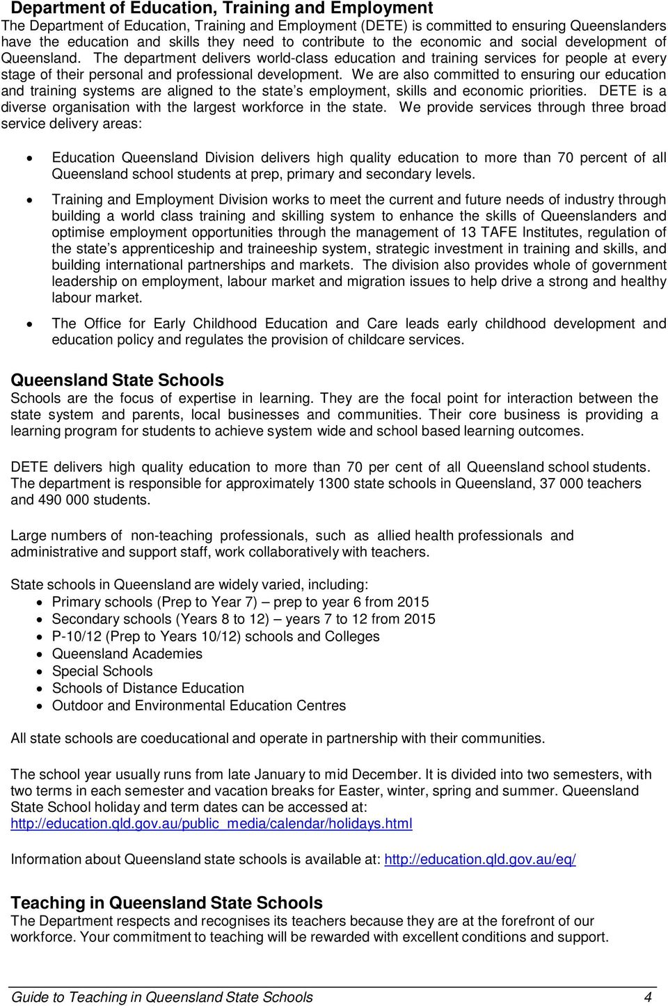 Guide to Teaching in Queensland State Schools - PDF