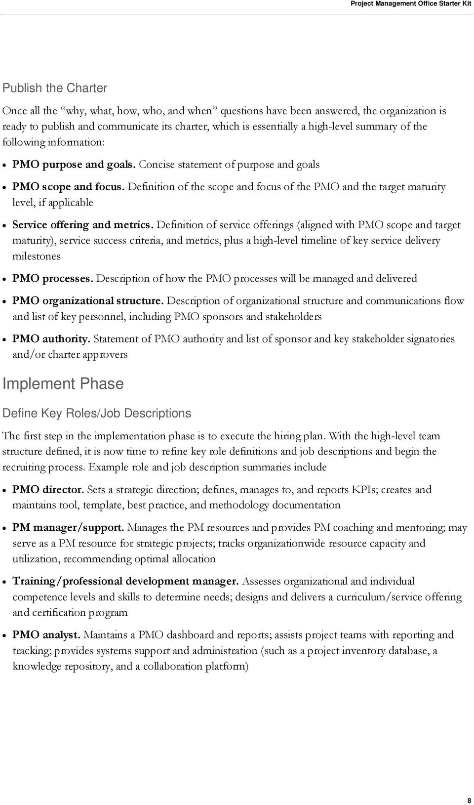 Definition Of The Scope And Focus PMO Target Maturity Level If