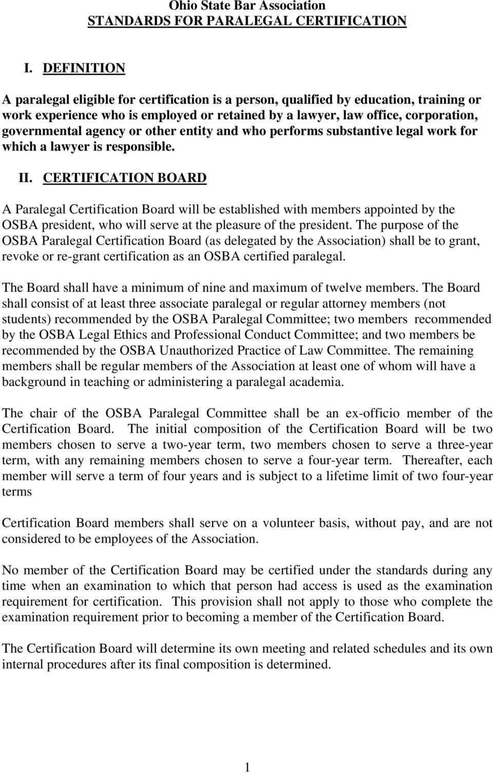 Ohio State Bar Association Standards For Paralegal Certification Pdf