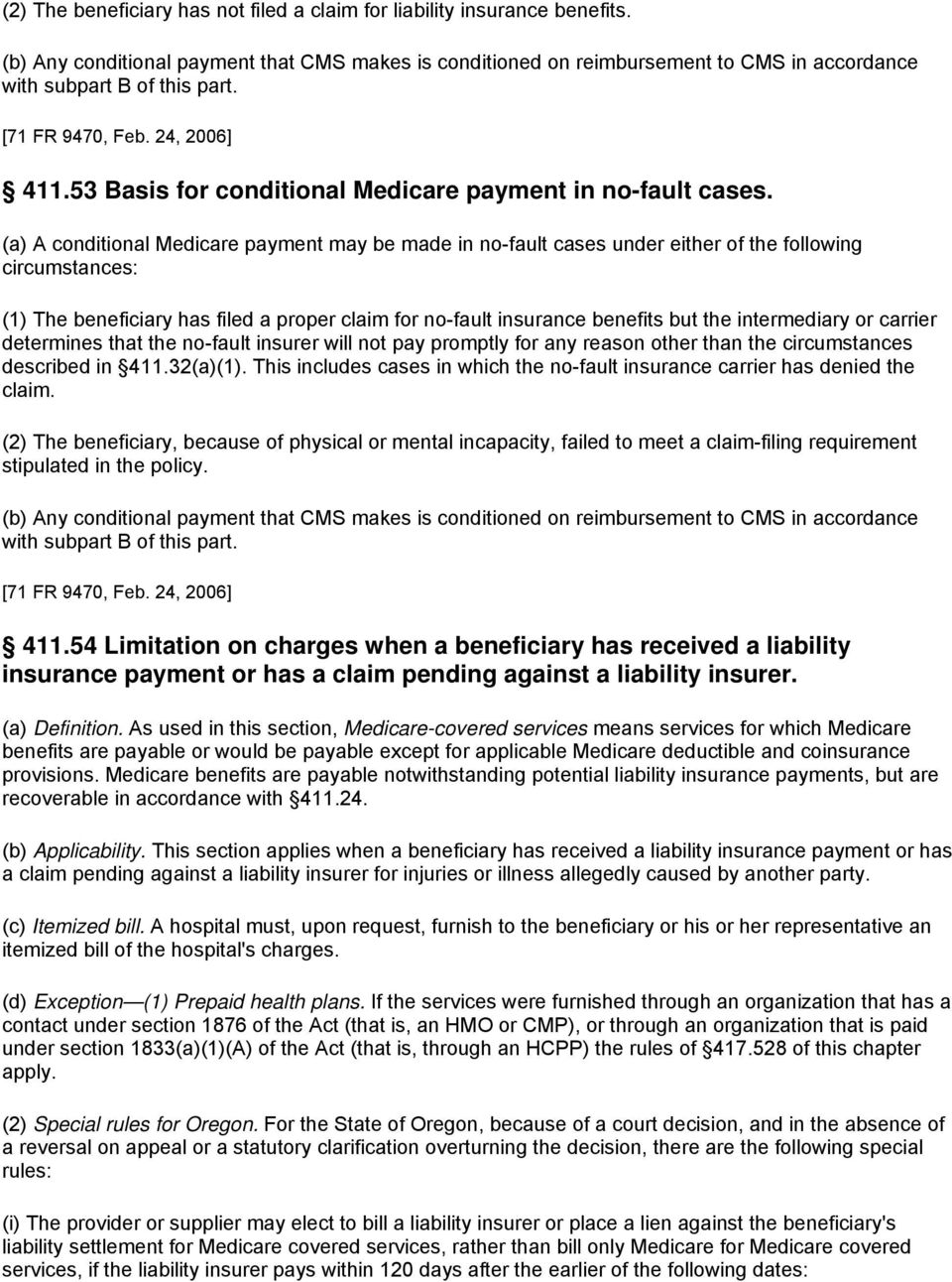 subpart b insurance coverage that limits medicare payment: general