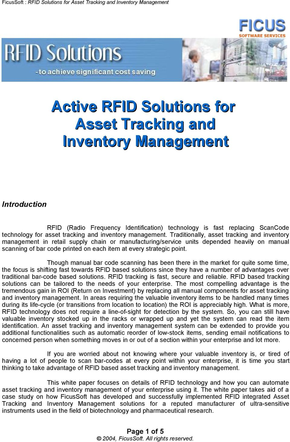 Active RFID Solutions for Asset Tracking and Inventory