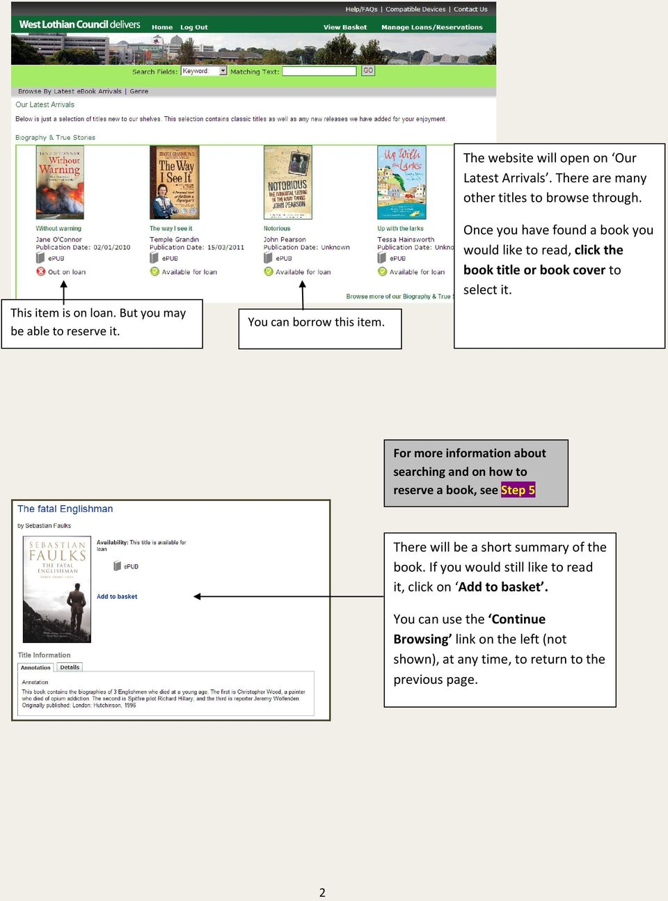 Once you have found a book you would like to read, click the book title or book cover to select it.