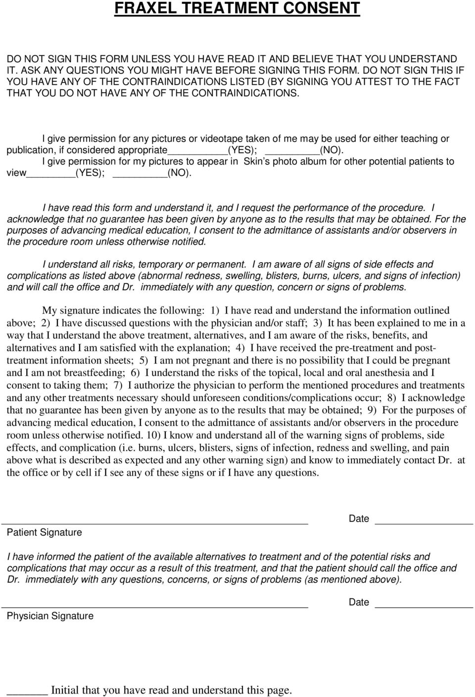 FRAXEL TREATMENT CONSENT - PDF