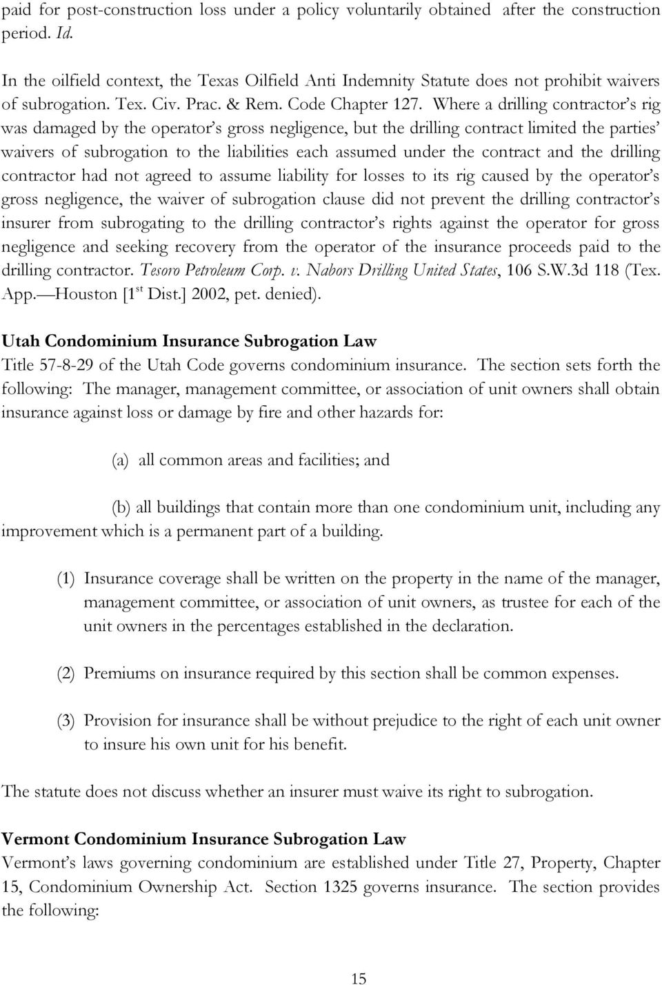 State By State Compendium On Waivers Of Subrogation On Condominium