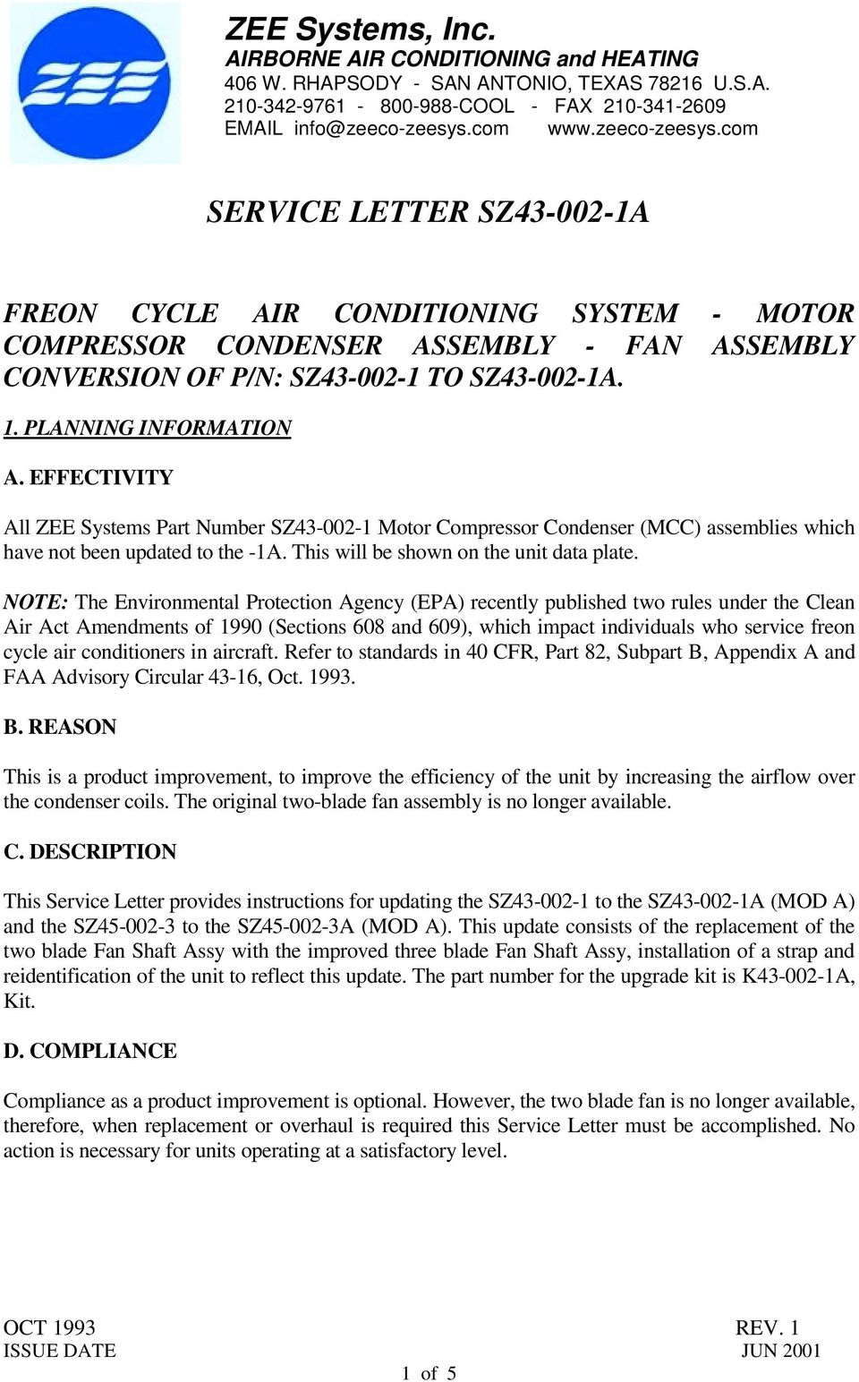 Service Letter Sz A Pdf Electric Fan Conversion For Suburban Note The Environmental Protection Agency Epa Recently Published Two Rules Under Clean