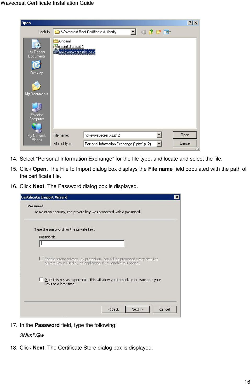 The File to Import dialog box displays the File name field populated with the path of the
