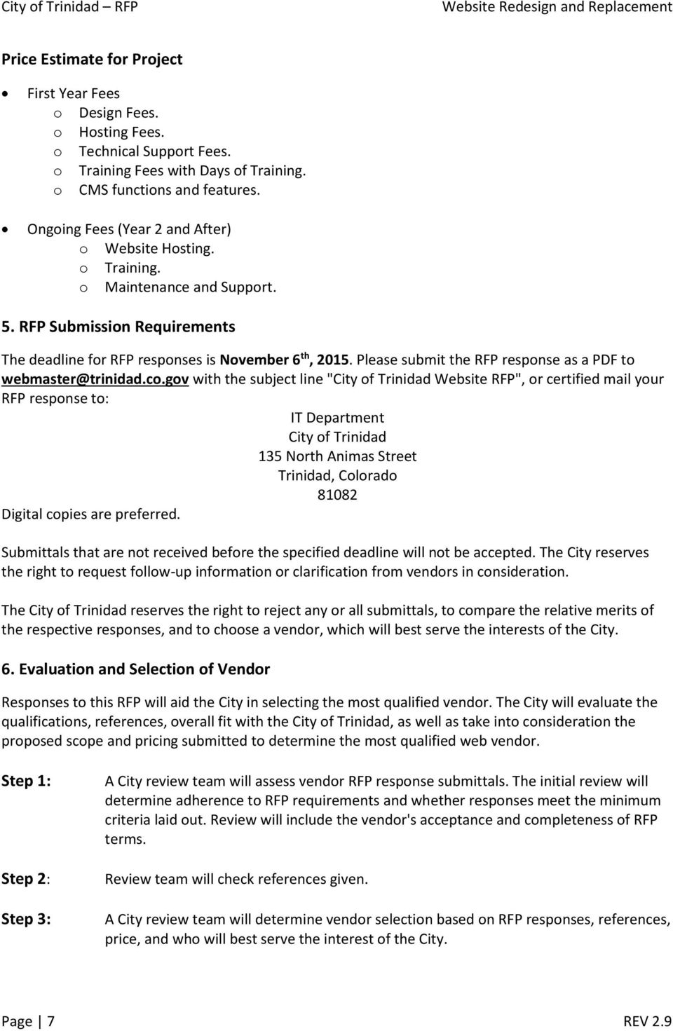 Request for Proposal For  City of Trinidad RFP  Municipal