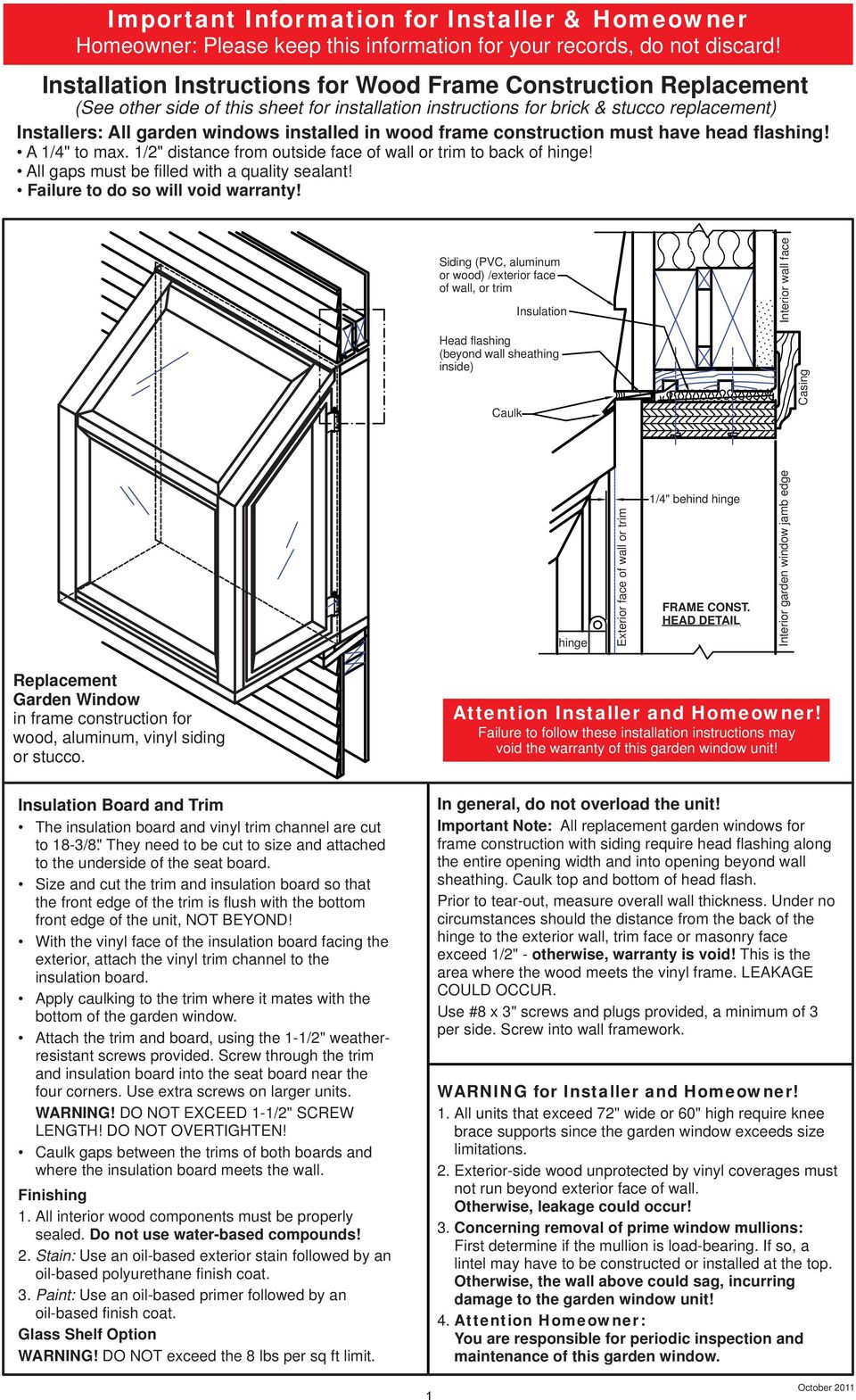 Important Information for Installer & Homeowner - PDF